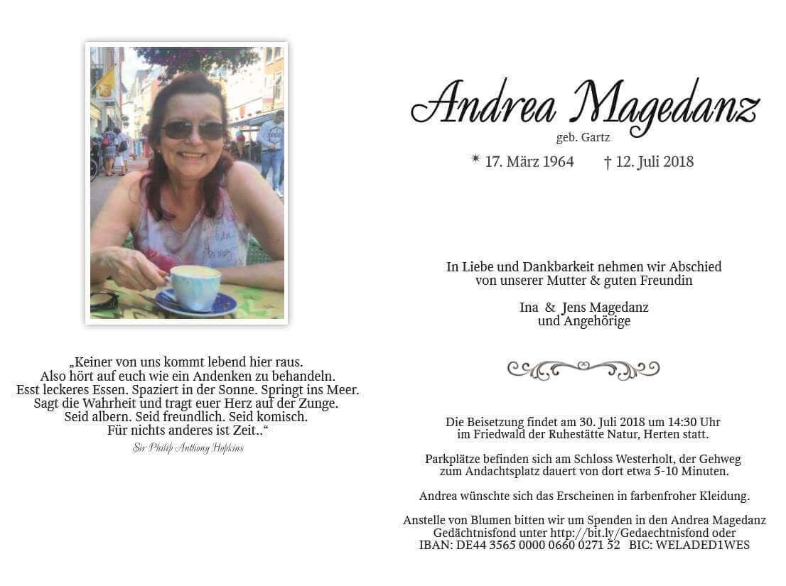 In Memoriam - Traueranzeige Andrea Magedanz