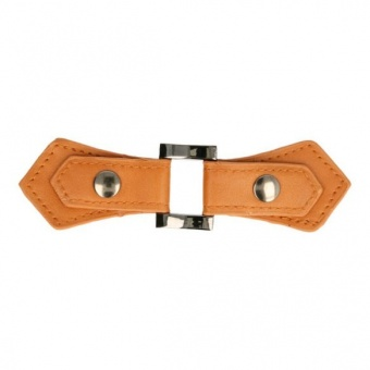 Cognac-Brauner Kiltverschluss - Lederschnalle aus Kunstleder mit Druckknopf - Taschenverschluss - Strickverschluss