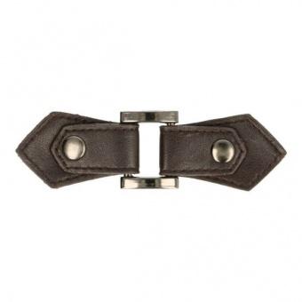 Dunkelbrauner Kiltverschluss - Lederschnalle aus Kunstleder mit Druckknopf - Taschenverschluss - Strickverschluss