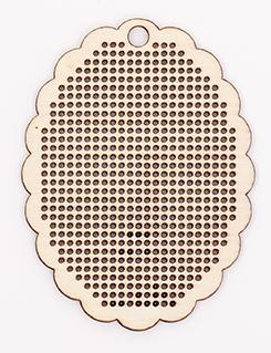 Bestickbare Holzanhänger - Ovaler Holzrahmen für Kreuzstich