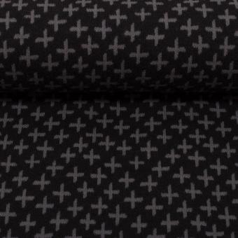 Schwarz-Dunkelgraues Bündchen mit Muster - KARLA Schlauchware - Plus-Zeichen & Kreuze Bund Meterware