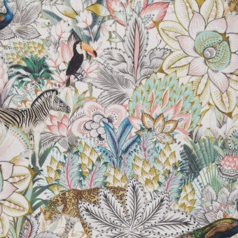 Safaristoff - Leinenoptik Canvas Meterware mit Blumen, Blättern & Tieren Dschungelstoff - Kalle Mint Swafing Dekostoff