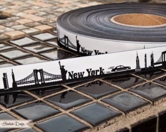 Schwarz-Weiss New York - Meine Heimat Skyline Webband / Bändchen - Meterware