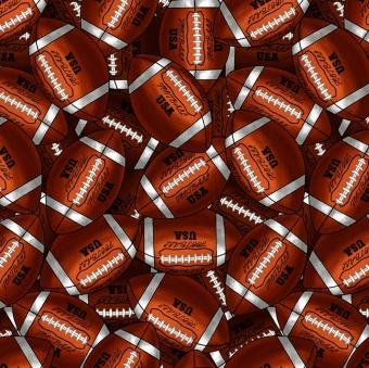 American Football Motivstoff - Meterware mit Football-Bällen
