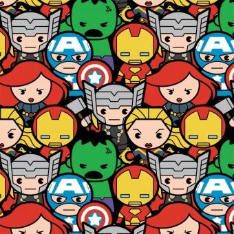 Marvel's Avengers Kawaii Superheroes Comicstoff / Superheldenstoff mit Thor, Iron Man, Hulk, Captain America & mehr