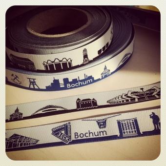 Schwarz-Weiss Bochum - Meine Heimat Skyline Webband / Bändchen - Meterware