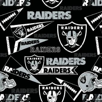 Oakland Raiders Motivstoff - Original NFL Lizenzstoff - American Football Meterware