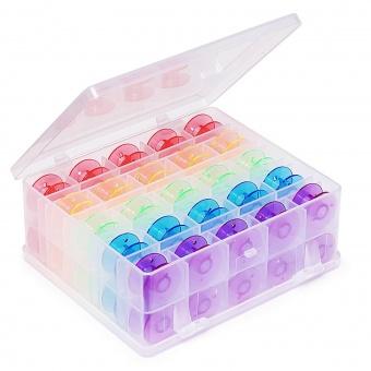 Bobbin Box Spulendose mit 50 Universal-Unterspuelen - Unterspulenaufbewahrung / Spulenkästchen mit bunten Regenbogenspulen