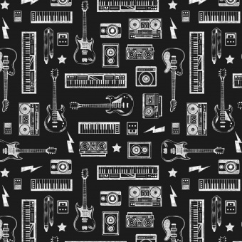 "E-Gitarren, Bass, Amps & Keyboards Motivstoff - ""Pour some sugar on me Collection"" Musikstoffe -  Dear Stella Patchworkstoffe"