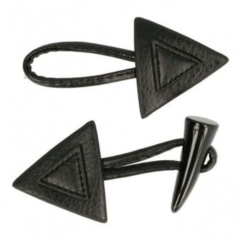 Schwarzer Knebelverschluss - Knebelknopf aus Leder mit Hornknopf-Dreieck - Taschenverschluss - Strickverschluss