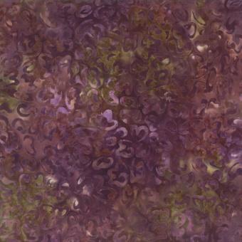 Schnörkel Batikstoff - Purple-Brown-Green- - Wilmington Balibatiks Patchworkstoffe