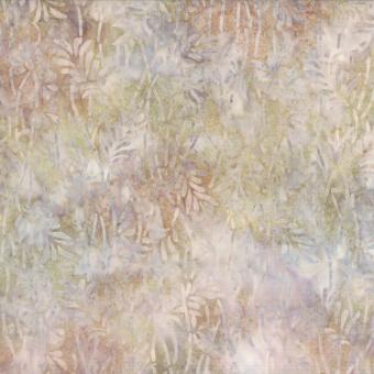 Grau-Beiger Blätter-Batikstoff - Tan Leaves - Wilmington Balibatiks Patchworkstoffe