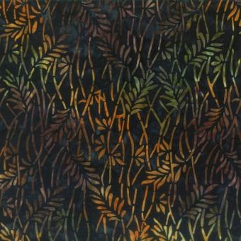 Blätter & Zweiglein Batikstoff - Orange & Brown Delicate Leaves - Wilmington Balibatiks Patchworkstoffe