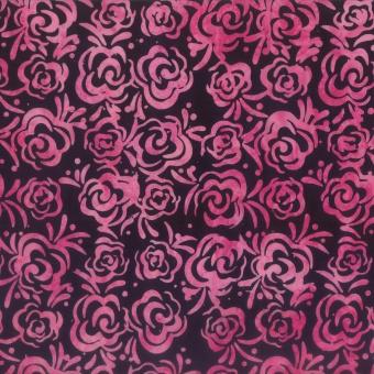 Röschen Batikstoff - Purple-Pink-Black Roses Rosenstoff - Wilmington Balibatiks Patchworkstoffe