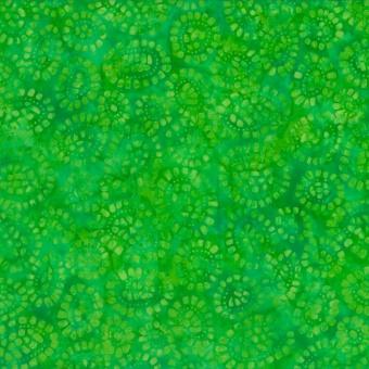 Grüner Blätter & Geoden Batikstoff - Green Leaves - Wilmington Balibatiks Patchworkstoffe