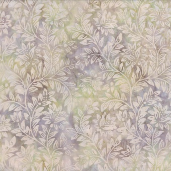 Blümchen & Blätter - Grau-Beiger Batikstoff - Tan Floral & Leaves - Wilmington Balibatiks Patchworkstoffe