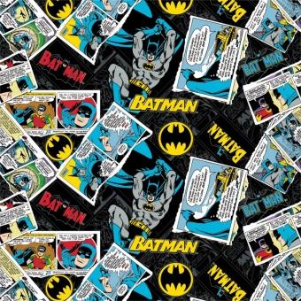 "Lizenzstoff ""Black DC Batman Collage"" - Batman-Stoff Meterware - Justice League Heroes in the making - DC Comics Motivstoff"