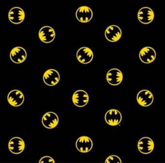"Lizenzstoff ""Batman Logo"" - Batman-Stoff Meterware - Justice League Heroes in the making - DC Comics Motivstoff"