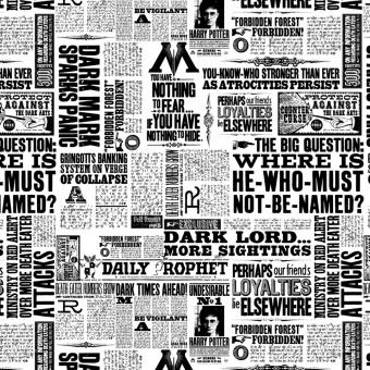 """Harry Potter Lizenzstoff """"Newsprint"""" - Zeitungsstoff Meterware - Wizarding World J.K. Rowling's Collection Motivstoff"""