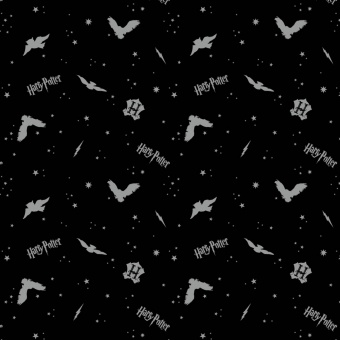 """Harry Potter Lizenzstoff """"Metallic"""" mit Eulen  - Black In the Night Sky Assets with Owls Flannel Meterware - Wizarding World J.K. Rowling's Collection Motivstoff - FLANELLSTOFF!"""
