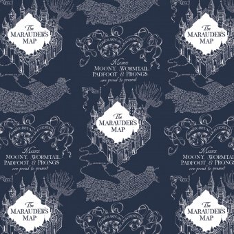 "Harry Potter Lizenzstoff ""Blaue Zauberkarte"" - Blue Marauder's Map Flannel Meterware - Wizarding World J.K. Rowling's Collection Motivstoff - FLANELLSTOFF!"