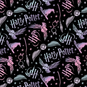 Harry Potter Lizenzstoff mit Eulen, Schnatz & Sortierhut  - Black Tossed Assets with Owls Flannel Meterware - Wizarding World J.K. Rowling's Collection Motivstoff - FLANELLSTOFF!