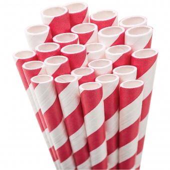 Rot-Weiße Vintage Papierstrohhalme - 50s Paper Drinking Straw
