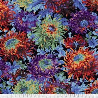 Black Shaggy Floral Blumenstoff - Philip Jacobs for Kaffe Fassett Collective Designerstoff