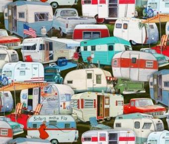 DIGITALDRUCK! Campingwagen & Wohnwagen Motivstoff - Vintage Trailers by Elizabeth's Studio