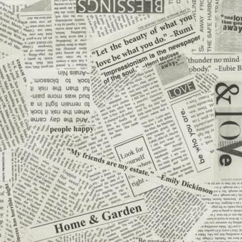 Schwarz-Weißer Schriftstoff - Graustufen Zeitungsstoff - Spackle Newsprint Story by Carrie Bloomstom - Windham Fabrics