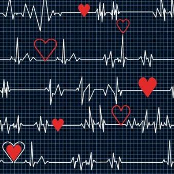 Herzschlag  Kardiogramm auf Dunkelblau - Herzchenstoff  - Calling all Nurses