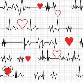 Herzschlag Kardiogramm auf Weiß - Herzchenstoff mit Puls - Calling all Nurses