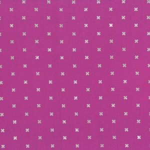 Ausgefallener Basicstoff Kreuze Silber-Metallic auf Pink - Metallic XoXo Rashida Coleman Hale - Cotton + Steel Stoff