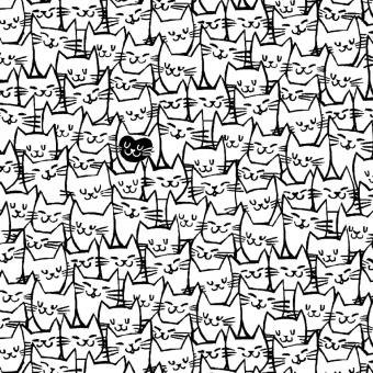 Überbreiter schwarz-Weißer Katzenstoff - Another point of View - Happy Cats 108 inches Quilt Back Rückseitenstoff - Whistler Studios for Windham Fabrics Patchworkstoffe