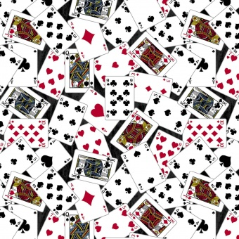 Motivstoff mit Spielkarten, Black Jack, Poke - Windham Fabrics Baumwollstoff - Man Cave Playing Cards by Rosamarie Lavin Collection