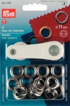 Ø11mm Ösen mit Scheiben & Werkzeug - silberfarbig