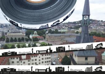 Stuttgart - Meine Heimat Skyline Webband / Bändchen - Meterware