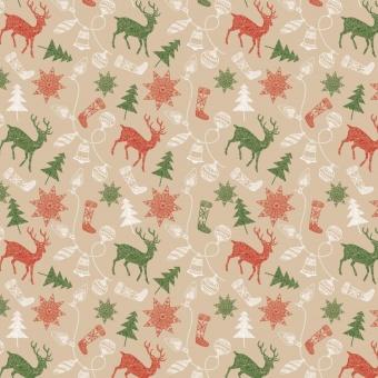 Weihnachtliche Ornamente auf Natur - Winter Wonders Weihnachtsstoff - Merry Memories Santa's Stash by Patrick Lose