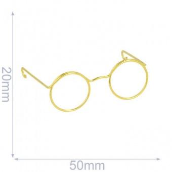 Metall-Brille - Brillengestell für Amigurumi, Kuscheltiere & Teddy - Gold-Optik
