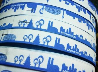 München Blau-Weiss - Meine Heimat Skyline Webband / Bändchen - Meterware