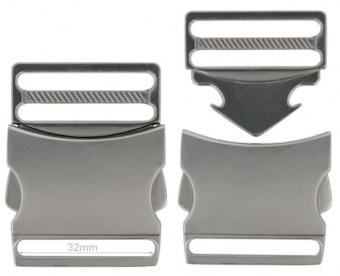 32mm / 3,2cm Metallsteckverschluss - Steckverschluss / Klickverschluss / Steckschließe - Silber-Matté-Finish