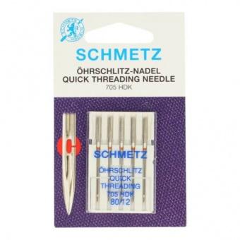 Öhrschlitz Schnelleinfädelnadeln - 80er Universal Quick Threading Nähmaschinennadeln - Schmetz Universalnadeln 130/705 HDK  No. 80 /12