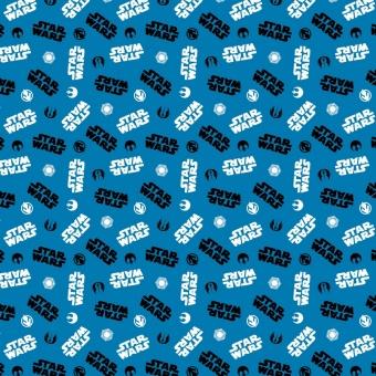 Star Wars Lizenzstoff mit Logos der Rebellen, Imperial Army usw. - Originalstoff Cosplay Meterware - Limited Edition! - Blue Tossed Icons