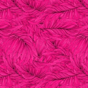 Dschungel Motivstoff mit großen Blättern. Monstera & Farn- Blätterstoff mit pinkem Federnmuster