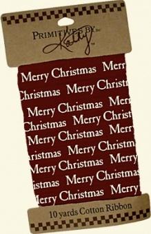 "Karte mit 9,1m - Teadye Baumwollband ""Merry Christmas"""
