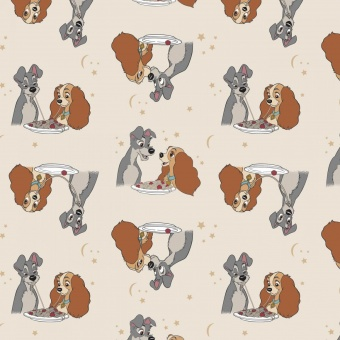 "Susi & Strolch Lizenzstoff - Original ""Lady & the Tramp Spaghetti Kiss"" Disneystoff - Disney's Originalstoff - Süßer Hundestoff mit Kuss"