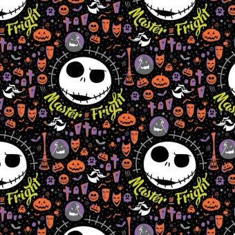 Nightmare before Christmas Lizenzstoff - Jack Skellington Master of Fright Original Disneystoff / Halloweenstoff
