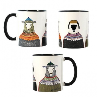 Scheepjes Limited Edition Tasse by Ashley Percival - Kaffeebecher / Teetasse mit bestrickten Schafen