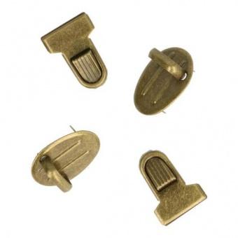 Altgoldenes Mini-Steckschloss - Gewellte Metall Steckschnalle - Kleiner Tornisterverschluss