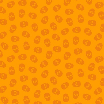 "Tangerine Tainted Love Totenkopfstoff - Libs Elliott ""The Watcher"" Designerstoff - Andover Fabrics Patchworkstoffe"